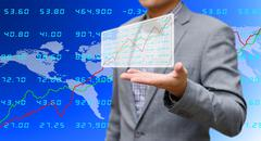 Stock Illustration of investor sharing analyze stock exchange data