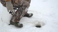 Ice Fishing CU Jigging Stock Footage