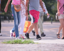 Walking bluejeans skinny young adult woman Stock Footage