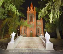 Gothic church at night, lithuania Stock Photos