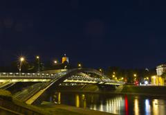 bridge over the neris river in vilnius, lithuania - stock photo