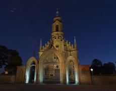 Old church in the gothic style at night, kernave, lithuania Stock Photos