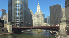 Timelapse boat pass river Chicago tourism travel downtown attraction business  Stock Footage