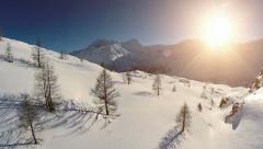 winter snow mountains. aerial view. beautiful sunset - stock footage