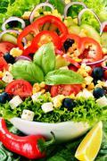 vegetable salad bowl. balanced diet - stock photo