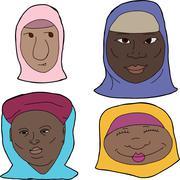 african muslim women - stock illustration