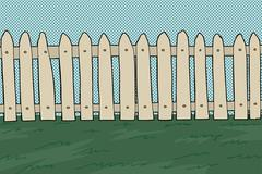 wooden picket fence - stock illustration