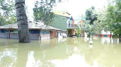 Floods in central Europe. Homes flooded. - stock footage