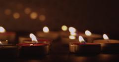 Leftward Pan Along Candles Stock Footage