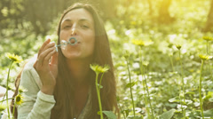 Vintage Young Woman Enjoying Spring Weather Park Bubbles UHD 4K Stock Footage