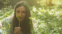 Spring Pretty Woman Playing Flowers Forest Nature Joy UHD 4K Stock Footage