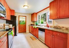 big kitchen room in contryside house - stock photo