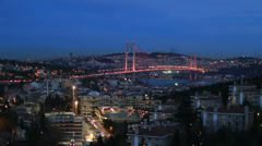 Bosporus Bridge at blue hours, tracking shot Stock Footage