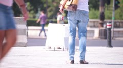 superb jeans legs young adult woman waiting date on street - stock footage
