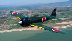 Mitsubishi A6M Zero Air to Air Stock Footage