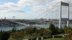 Time lapse traffic on the bridge at cloudy day, tracking shot Stock Footage