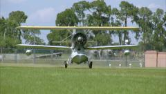 Grumman Duck Take Off Grass Runway Stock Footage