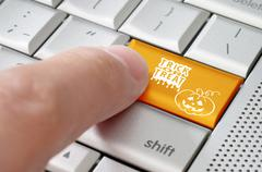 trick or treat halloween online concept - stock illustration