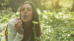 Young Female Blowing Soap Bubbles Forest Nature Relaxation 4K Stock Footage