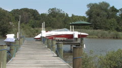 Speed Boat Pier Stock Footage