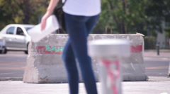 Superb bluejeans long legs beautiful brunette walking Stock Footage
