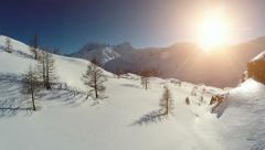 snow winter landscape. aerial view. sunset dusk. nature landscape - stock footage