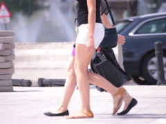 two walking superb exciting young adult women naked legs - stock footage