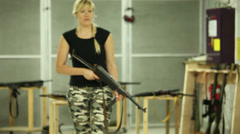 Blonde Girl Running Aiming MP-40 - 002 Stock Footage
