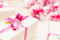 wrapped wedding gifts - stock photo