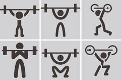 weightlifting icons - stock illustration