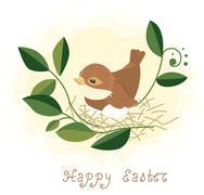 Easter background - bird in nest Stock Illustration