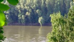 Danube River in Summer. Focusing. Stock Footage