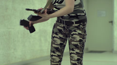 Young Girl Aiming AK-47 Slow Motion - 001 Stock Footage