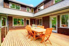 backyard deck overlooking amazing nature landscape - stock photo