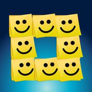 Happy faces on a set of post it. illustration Stock Illustration