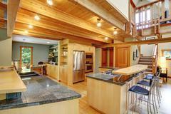 Log cabin style. kitchen interior Stock Photos