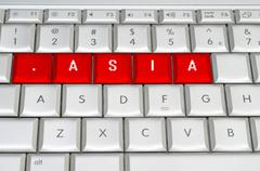 internet top level domain .asia spelled on metallic keyboard - stock illustration