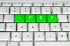 Stock Illustration of internet top level domain .gov spelled on metallic keyboard