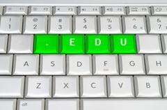 Internet top level domain .edu spelled on metallic keyboard Stock Illustration