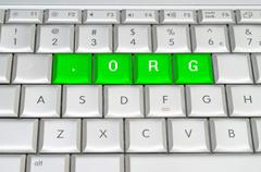 internet top level domain .org spelled on metallic keyboard - stock illustration