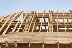 Fragment of the roof timbered houses Stock Photos