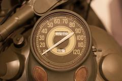 Old style of motorcycle speedometer Stock Photos