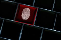 online crime scene concept with the fingerprint left on a backlit keyboard - stock illustration