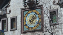 Urban old clock central wall hours pass vintage tower square decorative ornament Stock Footage