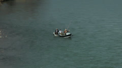Fly fishing boat turning Stock Footage