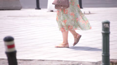 flowery dress young adult woman walking - stock footage