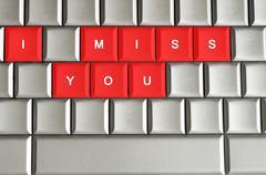 i miss you spelled on metallic keyboard - stock illustration