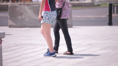 young adult man woman couple walking - stock footage