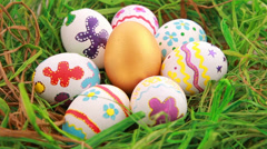 Colorful Easter eggs on grass Stock Footage
