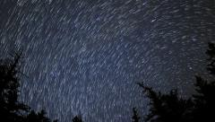 4K Astrophotography Time Lapse of Star Trails over Alpine Forest -Zoom Out- Stock Footage